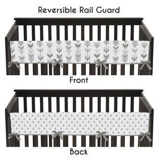 Sweet Jojo Designs Long Crib Rail Guard Cover for the Grey and White Mod Arrow Collection