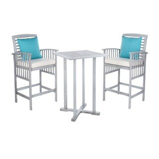 Safavieh Outdoor Living Pate 3-Piece Grey Wash/ White Bar Table Bistro Set (39.8-Inches)