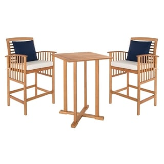 Safavieh Outdoor Living Pate 3 Piece Teak Colored/ White Bar Table Bistro  Set