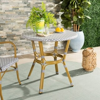 "Safavieh Outdoor Living Sidford Grey/ White Rattan Bistro Table - 31.5"" x 31.5"" x 30"""