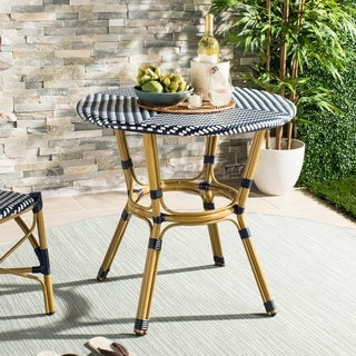 """Safavieh Outdoor Living Sidford Navy/ White Rattan Bistro Table - 31.5"""" x 31.5"""" x 30"""""""