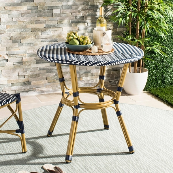 "Safavieh Outdoor Living Sidford Navy/ White Rattan Bistro Table - 31.5"" x 31.5"" x 30"""