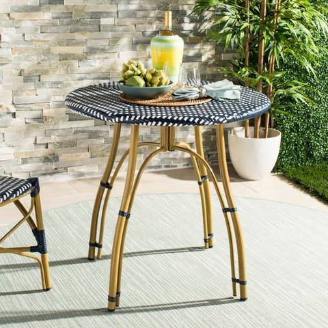 "Safavieh Outdoor Living Kylie Navy/ White Rattan Bistro Table - 31.5"" x 31.5"" x 30"""