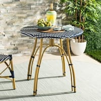 Safavieh Outdoor Living Kylie Navy/ White Rattan Bistro Table