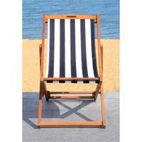 Safavieh Loren Teak-colored/Black Foldable Sling Chair