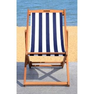 Safavieh Loren Natural/Navy Foldable Sling Chair