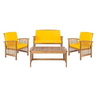 Safavieh Rocklin Teak-colored/ Yellow 4-Piece Outdoor Set With Accent Pillows