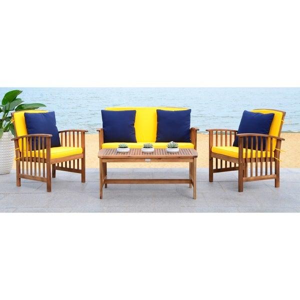 e737350643 Shop Safavieh Outdoor Living Rocklin Yellow 4-Piece Set With Accent ...