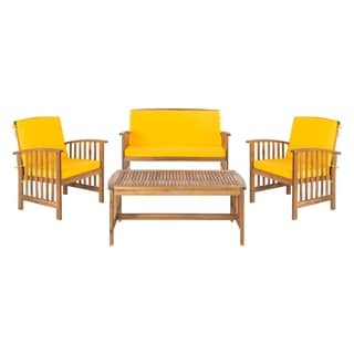 Shop Safavieh Outdoor Living Ozark Brown/ Navy Acacia Wood ... on Safavieh Outdoor Living Montez 4 Piece Set id=71543