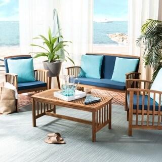 Safavieh Outdoor Living Rocklin Navy 4-Piece Set With Accent Pillows