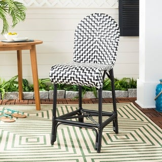 Safavieh Shea Indoor-Outdoor Black/ White 25.6-inch Counter Stool