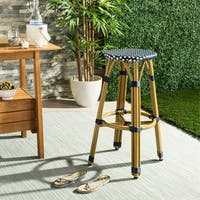 Safavieh Kelsey Indoor-Outdoor Navy/ White 30-inch Counter Stool
