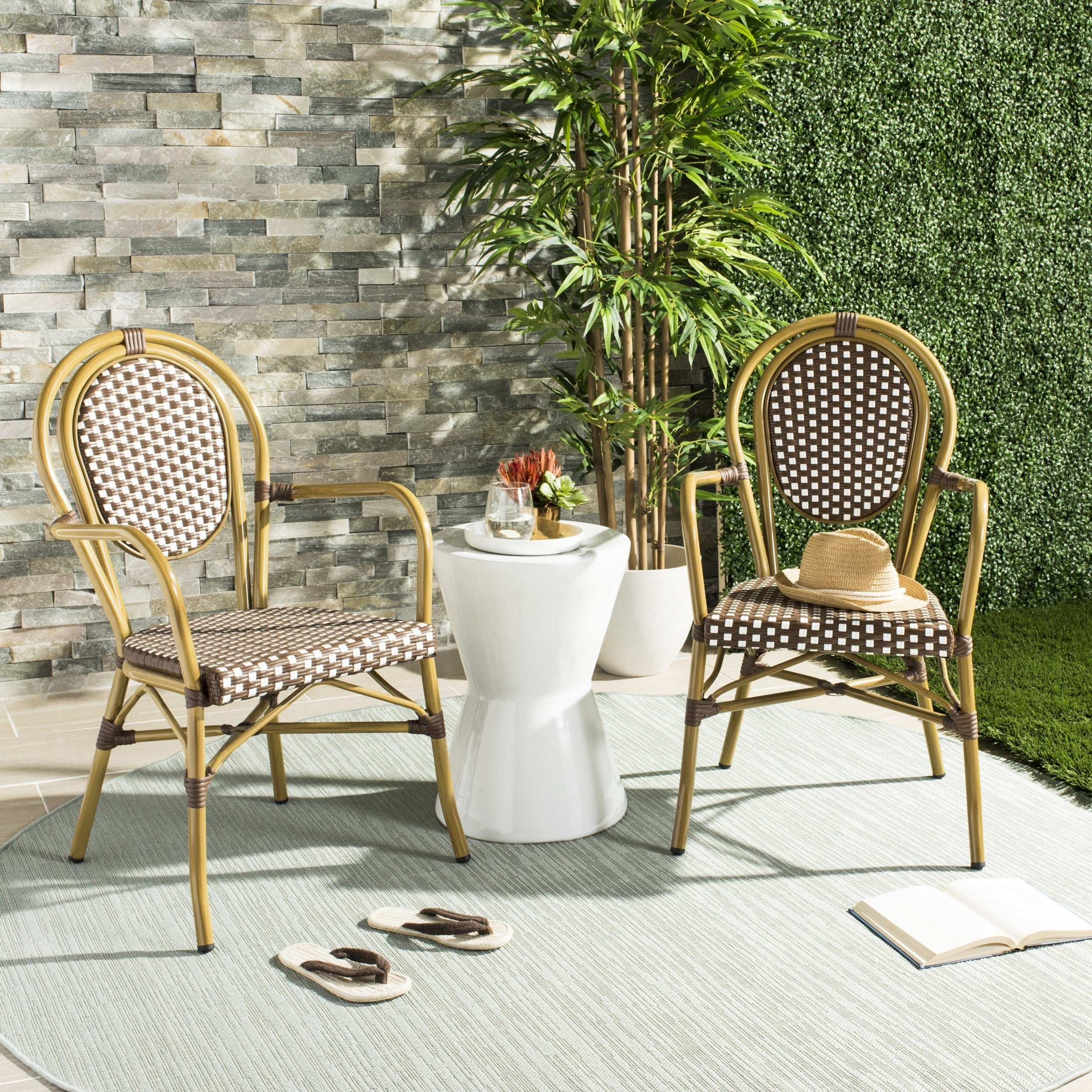 Safavieh Rosen French Bistro Stacking Browny/ White Arm Chair (Set Of 2)