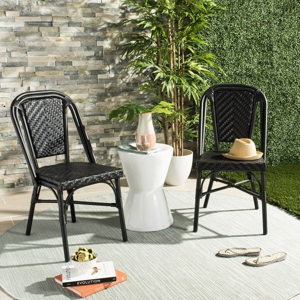shop safavieh daria stacking black side chair set of 2 on sale