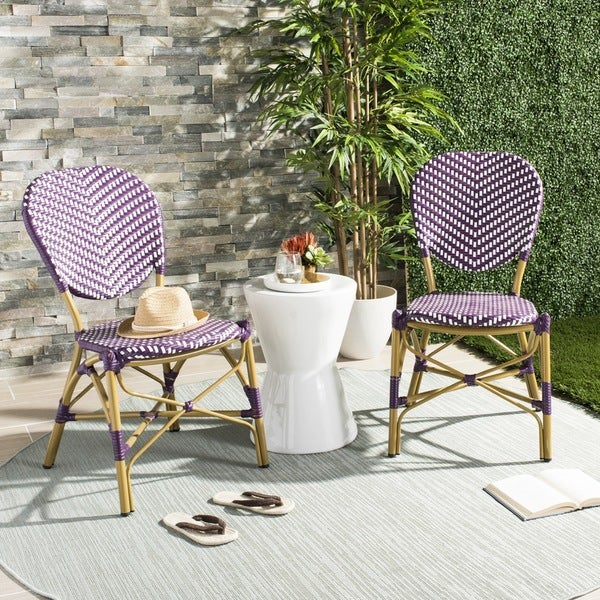 Safavieh Outdoor Living Cooley Black White Dining Set 5: Shop Safavieh Lisbeth French Bistro Stacking Purple/ White