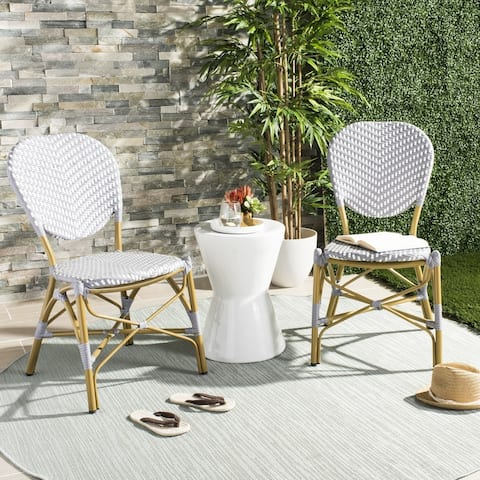 SAFAVIEH Lisbeth French Bistro Stacking Grey/ White Side Chair (Set of 2)
