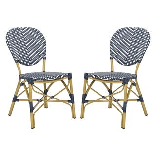 Safavieh Lisbeth French Bistro Stacking Navy/ White Side Chair (Set of 2)