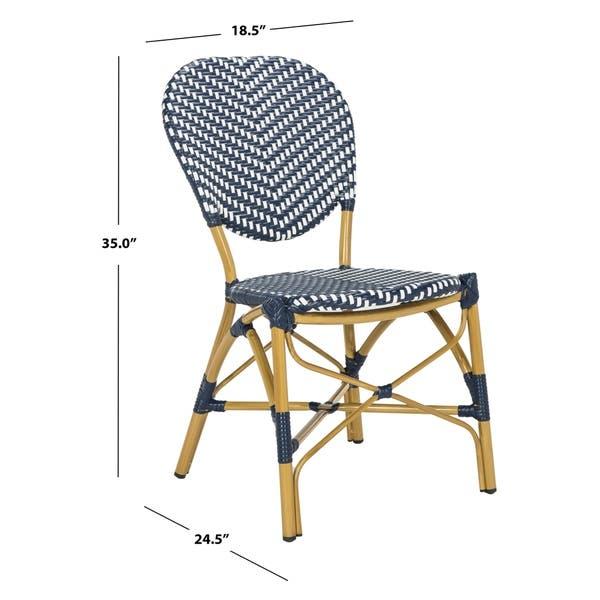 Astonishing Shop Safavieh Lisbeth French Bistro Stacking Navy White Inzonedesignstudio Interior Chair Design Inzonedesignstudiocom