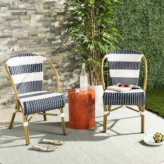 Safavieh Sarita Striped French Bistro Stacking Navy/ White Side Chair (Set of 2)