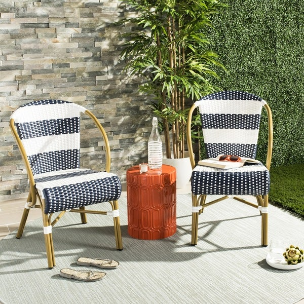 Safavieh Sarita Striped French Bistro Stacking Navy/ White Side Chair (Set of 2) & Shop Safavieh Sarita Striped French Bistro Stacking Navy/ White Side ...