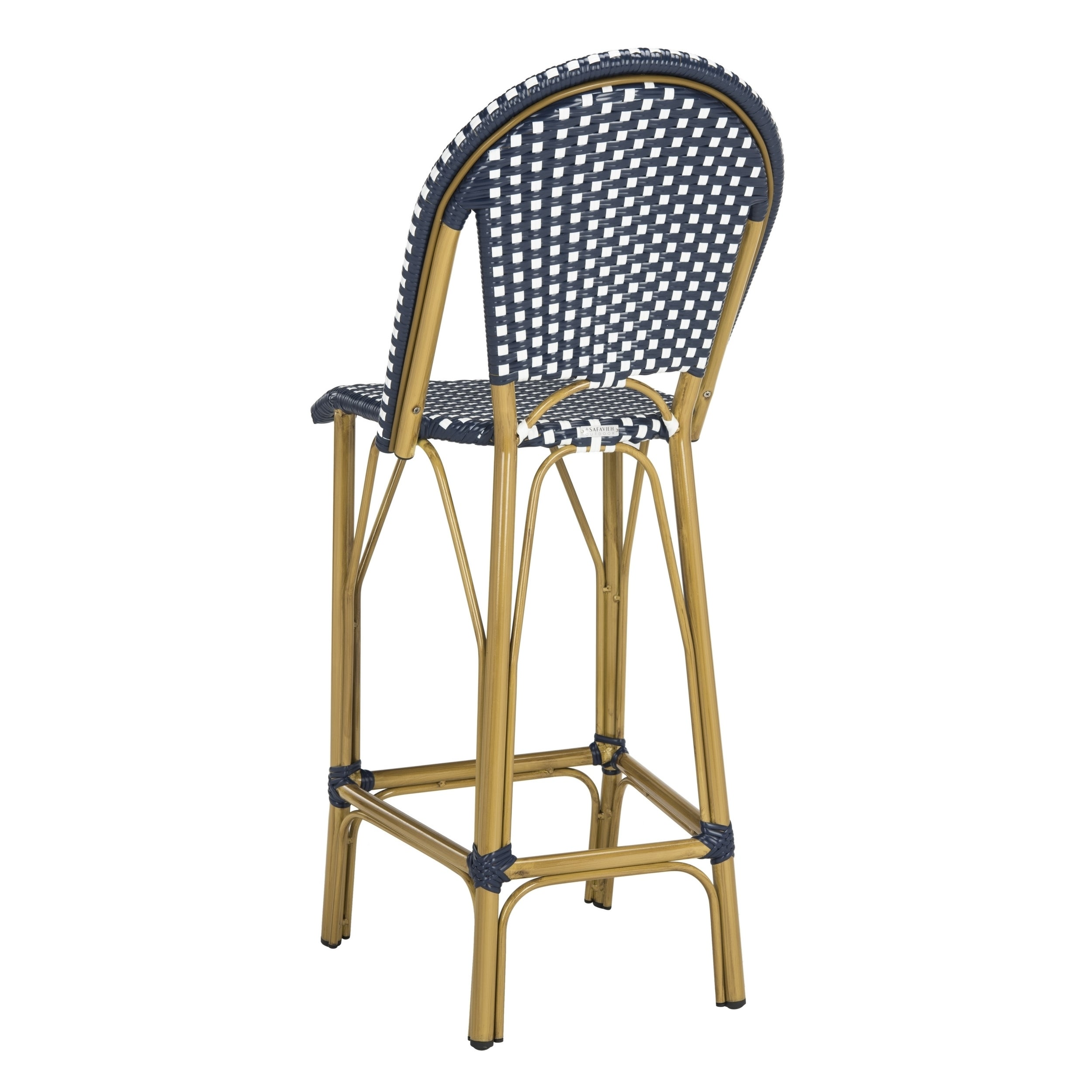 Magnificent Safavieh Ford Indoor Outdoor Stacking Navy White French Bistro 30 Inch Barstool Theyellowbook Wood Chair Design Ideas Theyellowbookinfo