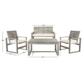 Shop Safavieh Outdoor Living Grey PE Mesh Back Wicker ... on Safavieh Outdoor Living Montez 4 Piece Set id=35604