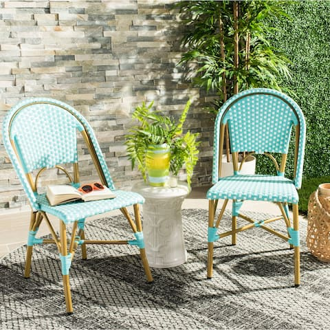 Safavieh Salcha Indoor-Outdoor French Bistro Teal/ White Stacking Side Chair (Set of 2)