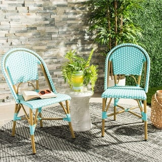 Safavieh Salcha Indoor-Outdoor French Bistro Teal/ Whtie Stacking Side Chair (Set of 2)