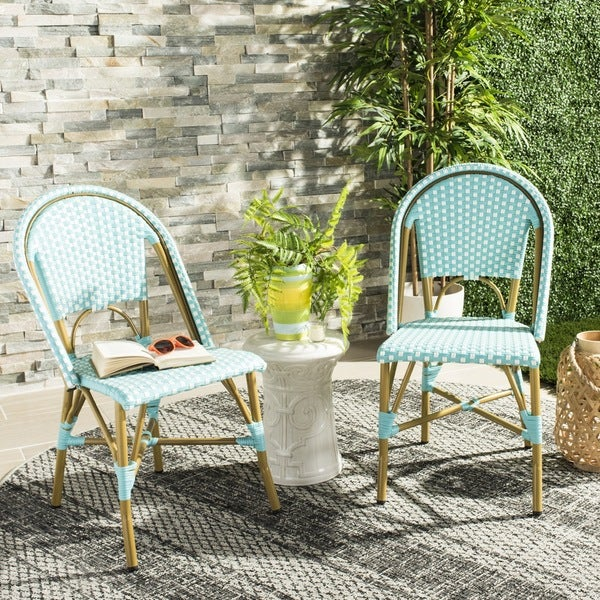 Safavieh Salcha Indoor Outdoor French Bistro Teal/ Whtie Stacking Side Chair  (Set Of