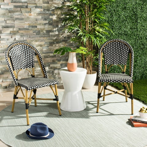Safavieh Salcha Indoor-Outdoor French Bistro Black/ White Stacking Side Chair (Set of 2)