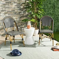 "Safavieh Salcha Indoor-Outdoor French Bistro Black/ White Stacking Side Chair (Set of 2) - 18"" x 21.6"" x 34.6"""