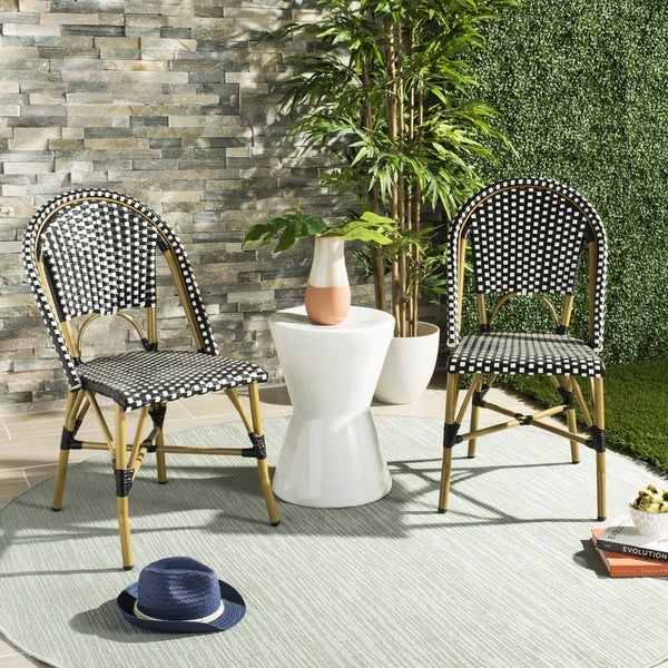 Safavieh Salcha Indoor Outdoor French Bistro Black White Stacking Side Chair Set Of