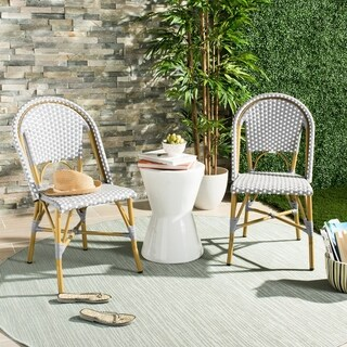 Safavieh Salcha Indoor-Outdoor French Bistro Grey/ White Stacking Side Chair (Set of 2)