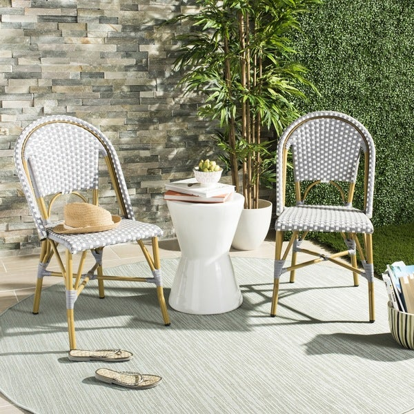 Safavieh Salcha Indoor Outdoor French Bistro Grey White Stacking Side Chair Set Of