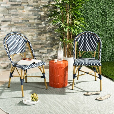 Safavieh Salcha Indoor-Outdoor French Bistro Navy/ White Stacking Side Chair (Set of 2)