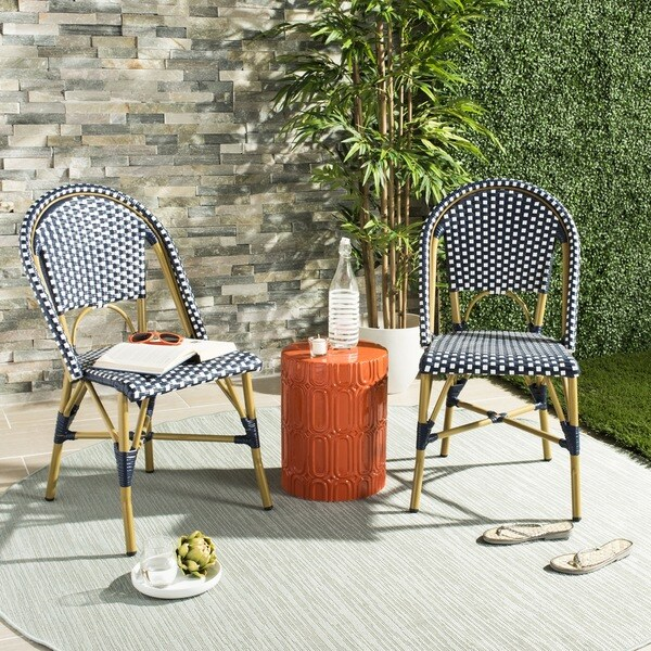Bistro Patio Furniture.Safavieh Salcha Indoor Outdoor French Bistro Navy White Stacking Side Chair Set Of 2
