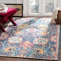 Safavieh Hand-Woven Saffron Bohemian Blue/ Orange Cotton Rug - 4' x 6'