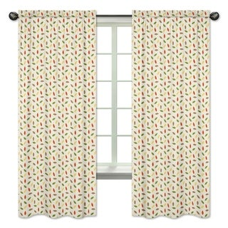 Sweet Jojo Designs Leaf Print 84-inch Window Curtain Panel Pair for the Forest Friends Collection