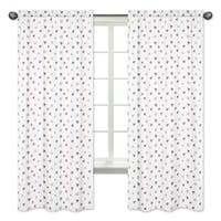 Sweet Jojo Designs Mini Nautical Print 84-inch Window Curtain Panel Pair for the Nautical Nights Collection