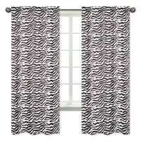 Sweet Jojo Designs Zebra Print 84-inch Window Curtain Panel Pair for the Pink Funky Zebra Collection