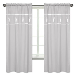 Sweet Jojo Designs 84-inch Window Curtain Panel Pair for the Grey and White Woodsy Collection