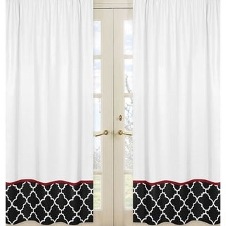 Sweet Jojo Designs 84-inch Window Curtain Panel Pair for the Red and Black Trellis Collection
