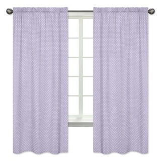 Sweet Jojo Designs Lavender and White Polka Dot 84-inch Window Curtain Panel Pair for the Sloane Collection