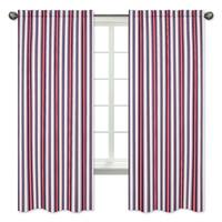Sweet Jojo Designs Stripe Print 84-inch Window Curtain Panel Pair for the Nautical Nights Collection