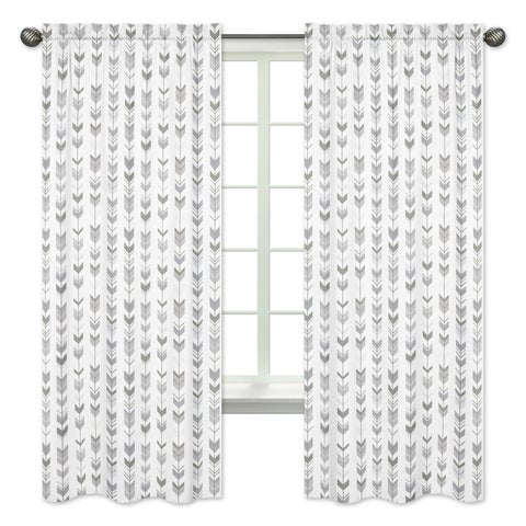 Sweet Jojo Designs 84-inch Window Curtain Panel Pair for the Grey and White Mod Arrow Collection