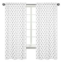 Sweet Jojo Designs Black and White Triangle Tree Print 84-inch Window Curtain Panel Pair for the Bear Mountain Collection