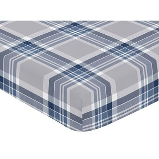 Sweet Jojo Designs Fitted Crib Sheet for the Navy Blue and Gray Plaid Collection