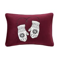 Madison Park Sweet Holiday Mittens Red Embroidered Oblong Decorative Throw  Pillow