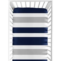 Sweet Jojo Designs Fitted Crib Sheet for the Navy Blue and Gray Stripe Collection