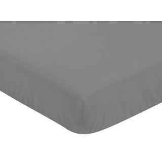 Sweet Jojo Designs Grey Fitted Crib Sheet for the Gray and Orange Stripe Collection